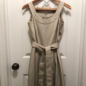 Calvin Klein pleated tan dress